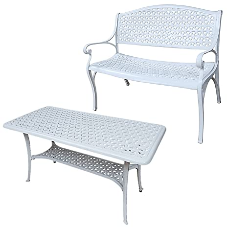 Muebles - piedras natales de bandeja giratoria y banca Claire mesa de café Rectangular de aluminio fundido de jardín - juego de, aluminio, Blanco, No cushion