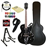 Guild Starfire III with Guild Vibrato Tailpiece Hollow Body Electric Guitar with Case & ChromaCast accessories, Black