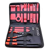 YOTOO 19Pcs Auto Audio Trim Removal Tool Set & Clip Plier Upholstery Fastener Remover Nylon Dash Door Panel Stereo Tool Kits