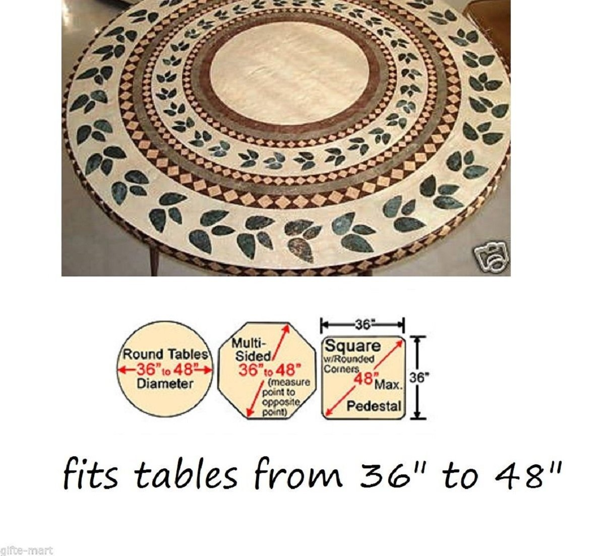 Faxadella Mosaic Table Cover 48 by Tile Table Cover - Mosaic Table Top - Mosaic Table Cover 36 - Elasticized Mosaic Table Cover. Extreme Durability, Backed By A