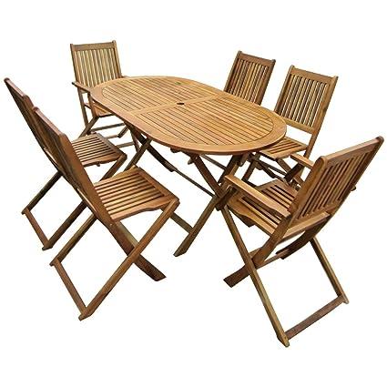 Bentley Garden - Gartenmöbel-Set aus Holz - Ausziehbarer ovaler Tisch & 6 Stuhle