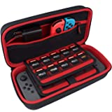 TAKECASE Carrying Case for Nintendo Switch Console - Protective Travel Case Fits Adapter/Charger and Includes 19 Game Card Storage, Hard Shell Cover, Accessories Pouch, Carry Handle - Red/Black