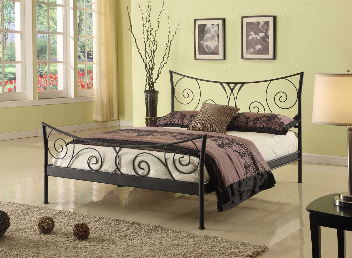 Black Metal Queen Size Bed Headboard Footboard Rails
