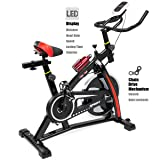 XtremepowerUS Indoor Cycle Trainer Fitness Bicycle Stationary (Red and black) (Color: Red and black)
