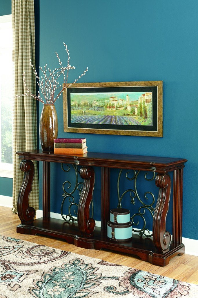 Ashley Furniture Signature design – Alymere Sofa Table or Entertainment Console, Rectangular, Rustic Brown