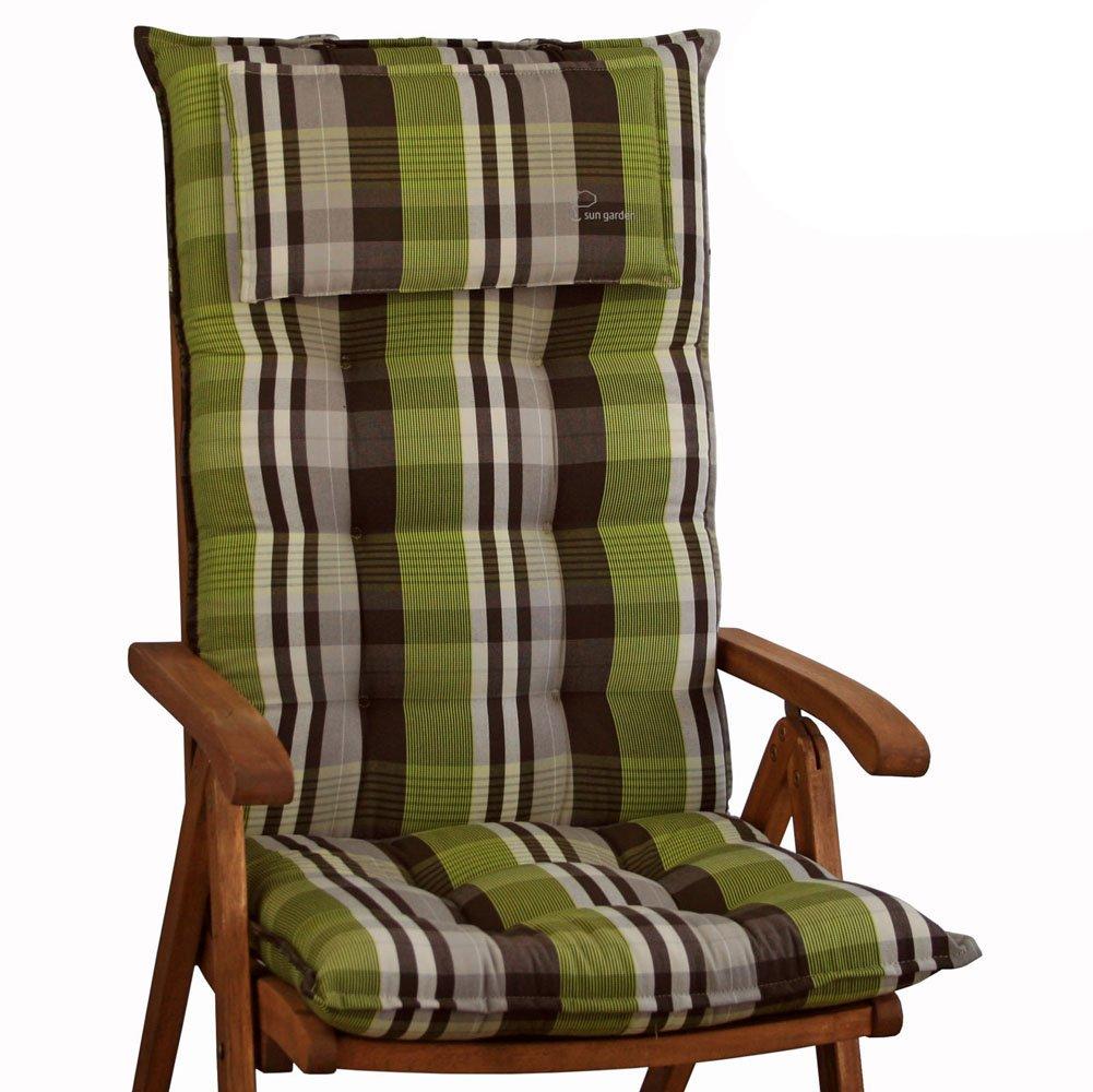 6 Auflagen für Hochlehner in grün braun Sun Garden Sylt 10438-6