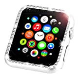 Leotop Compatible with Apple Watch Case 38mm, Metal Bumper Protective Cover Frame Accessories Women Girl Bling Shiny Crystal Rhinestone Diamond Compatible iWatch Series 3/2/1(Diamond Silver, 38mm)