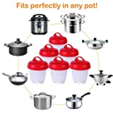 Time Collect Egg Cooker Hard & Soft Boiled Maker, Nonstick Silicone Eggs Boiler Cookers without Egg Shell ï¼?Set 6 Packsï¼?