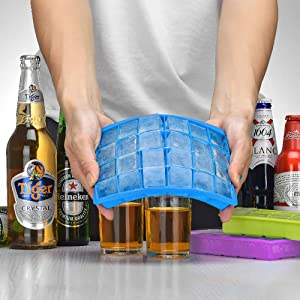Ozera 3 Pack Silicone Ice Cube Molds, Ice Cube Trays with Lid, 1.06 Small Easy Release Ice Tray 24 Cavities Square Ice Molds for Ice, Candy, Chocolate and More (Blue, Green, Purple) (Color: 3 Pack, Tamaño: One Size)