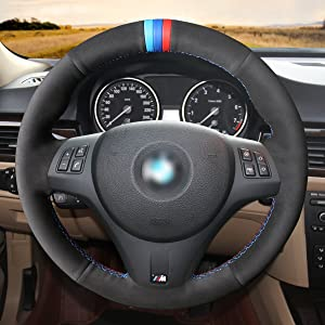 Black Leather Suede Steering Wheel Cover for BMW 1 Series E81 E82 E87 E88 M3 E90