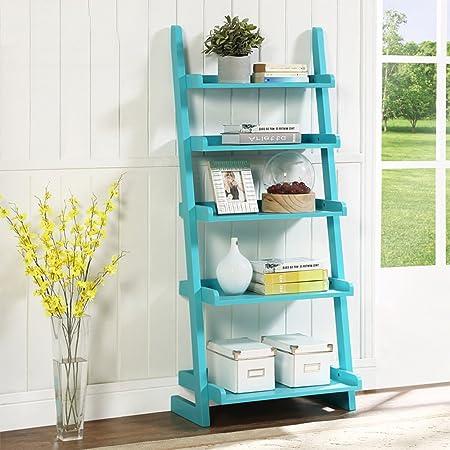 XIAOXIAO Scaffale Scaffale da scaffale per scaffali in legno massello a 5 strati Facile da spostare ( Colore : Blu )