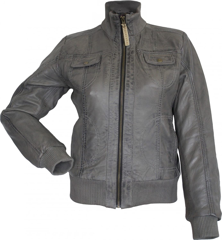 Damen Lederjacke Trend Fashion echtleder Jacke aus Lamm Nappa Leder grau online kaufen