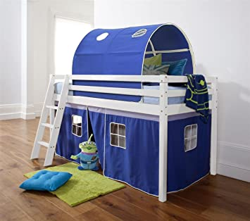 Midsleeper Cabin Bed in Solid White with Tent and Tunnel in Blue & Mattress