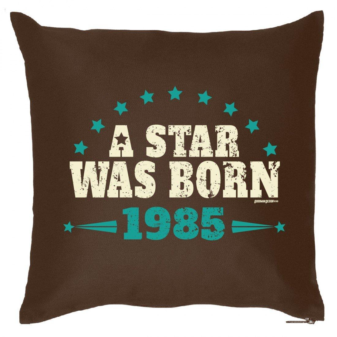 Couch Kissen mit Jahrgang zum Geburtstag – A Star was born seit 1985 – Sofakissen Wendekissen mit Spruch und Humor günstig bestellen