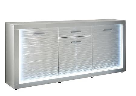 trendteam SL Sideboard Wohnzimmerschrank Kommode | Weiß Hochglanz | 180 x 92 cm | inkl. LED Beleuchtung