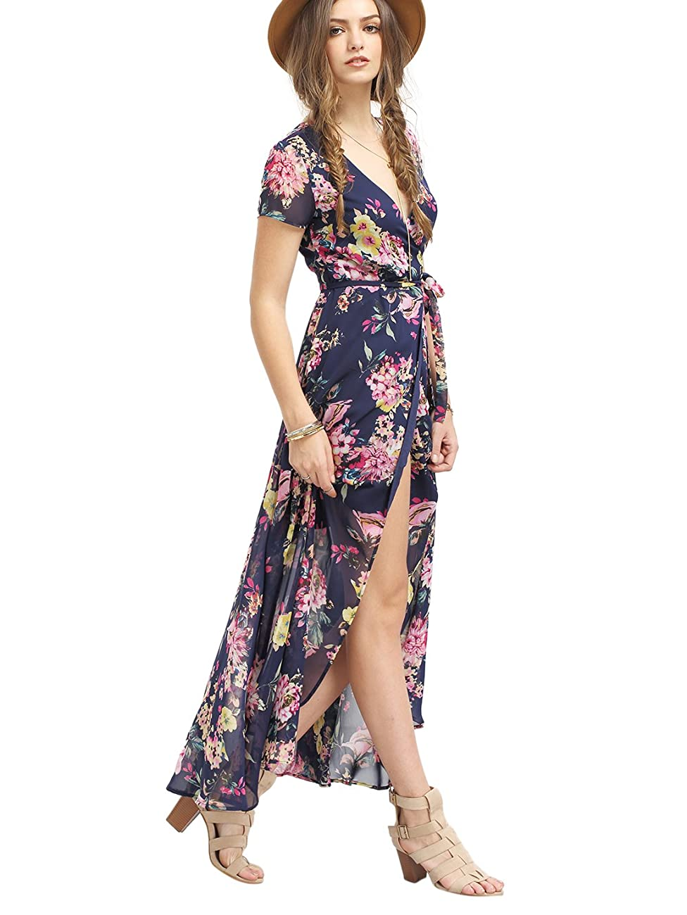 Milumia Women's Vintage Floral Print Split Wrap Maxi Dress 1