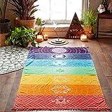 Rainbow Chakra Beach Mat Mandala Yoga Towels with Tassels Tapestry Stripes Yoga Mat 150cmx75cm  (Color: 2)
