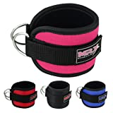 MRX Ankle D Ring Strap Thigh Pulley for Weight Lifting Padded Anklet Cuff Gym Straps (Pink) (Color: Pink, Tamaño: Length 12