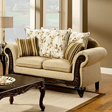 Furniture of America Lelicester Fabric and Leatherette Loveseat - Tan