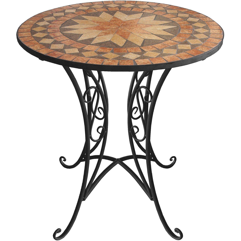 Mosaik Gartentisch rund Ø70cm Mosaiktisch Beistelltisch Bistrotisch Balkontisch Eisen Keramik günstig online kaufen
