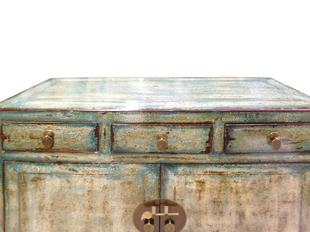 Chinese Distressed Blue Side Tall Credenza Table Cabinet Acs1695 1
