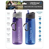 LifeStraw Go Water Filter Bottles with 2-Stage Integrated Filter Straw for Hiking, Backpacking, and Travel (Pack of 2), Purple and Blue (Color: Blue/Purple (2-Pack), Tamaño: 2 Pack)