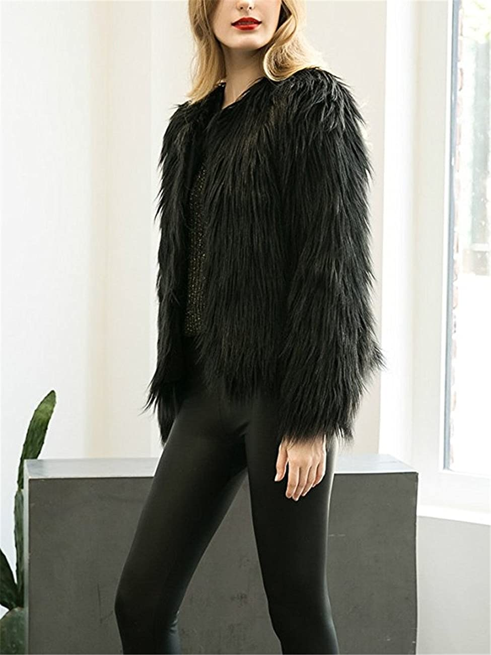 Women's Long Sleeve Vintage Winter Warm Fluffy Faux Fur Coat Jacket Outwear 4