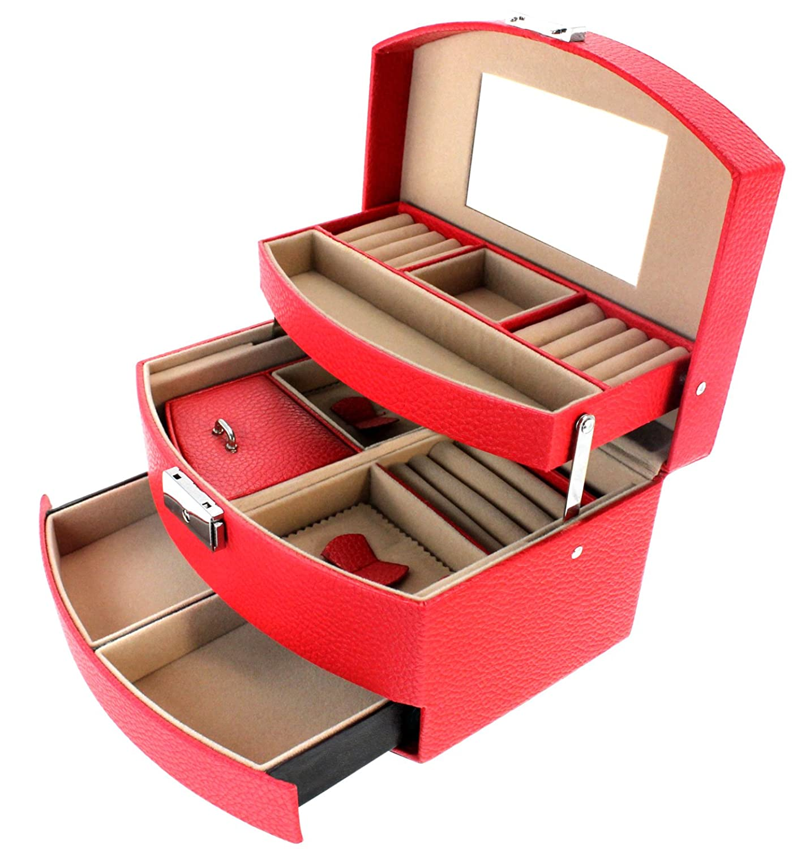Stella Maris handgefertigter, edler Schmuckkoffer – großer Schmuckkasten, Schmuckbox, Kosmetikkoffer mit extra großem Spiegel in rot  – STM-CJ003B günstig bestellen
