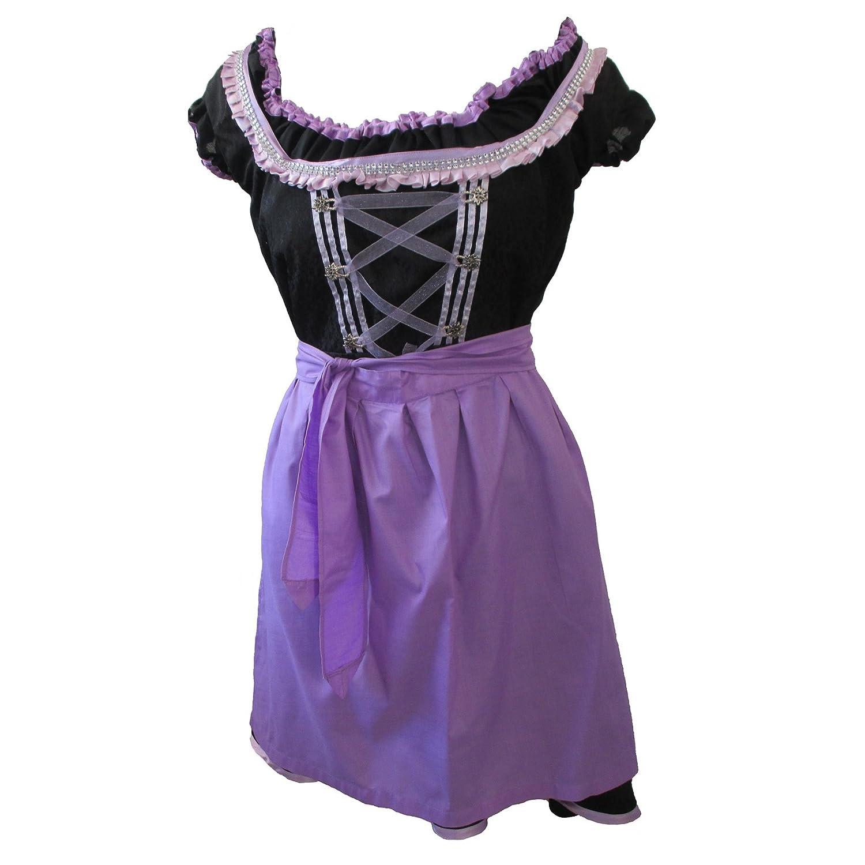 Zoelibat 47026305.008.34 – Dirndl Set, 3-teilig – Trachtenkleid Bluse und Schürze, Größe XS (34), schwarz/violett bestellen