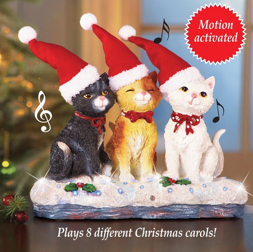 Musical Christmas Cat Trio Tabletop Decor
