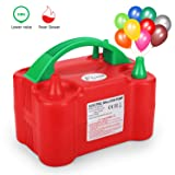 Flynie Electric Balloon Pump Air Balloon Pump Lower Noise Portable Electric Balloon Inflator Blower Dual Nozzle for Party Decoration 110V 600W Red with a Tie Tool (Color: Red)