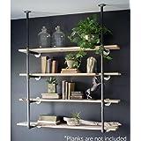 Industrial Retro Wall Mount Iron Pipe Shelf Hung Bracket Diy Storage Shelving Bookshelf (2 pcs) (Color: Black, Tamaño: 55.5''x12'')
