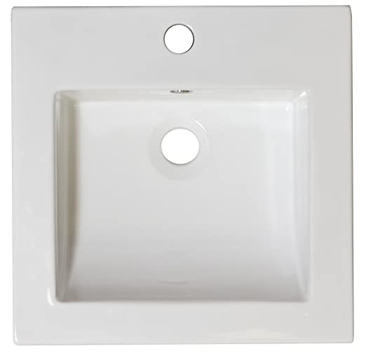 American Imaginations Rectangle Shape Transitional Ceramic Top, Comes with an Enamel Glaze Finish in White Color and Designed for a 4-In. O.C. Faucet