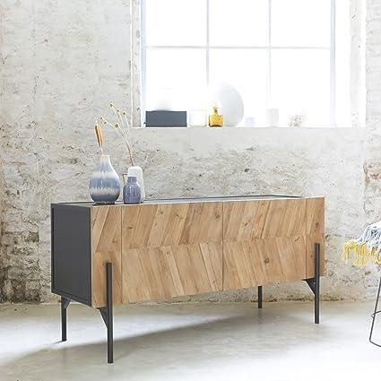 Buffet Geschirrschrank Sideboard aus Metall und Pinienholz 150 cm