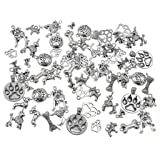 100 Grams Pet Charm,Assorted Dog Bone Paw Print Footprint Charm Pendant for DIY Necklace Bracelet Jewelry Making Findings(Antique Silver Tone) (Color: Mixed style(Antique Silver))