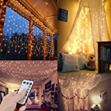 ZSTBT UL Safe 300 LED 9.8FT Linkable Curtain Lights Icicle Lights Fairy String Lights with 8 Modes for Christmas Wedding Party Family Patio Lawn Decoration (Warm White) (Color: Remote Warm)