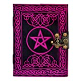 Natural Handicraft Handmade Leather Journal Pentagram Embossed Pentacle Wicca Pagan Notebook Book of Shadows Personal Organizer Daily Planner Office Supplies 5 x 7 Inches (Color: Multicolor, Tamaño: Small)