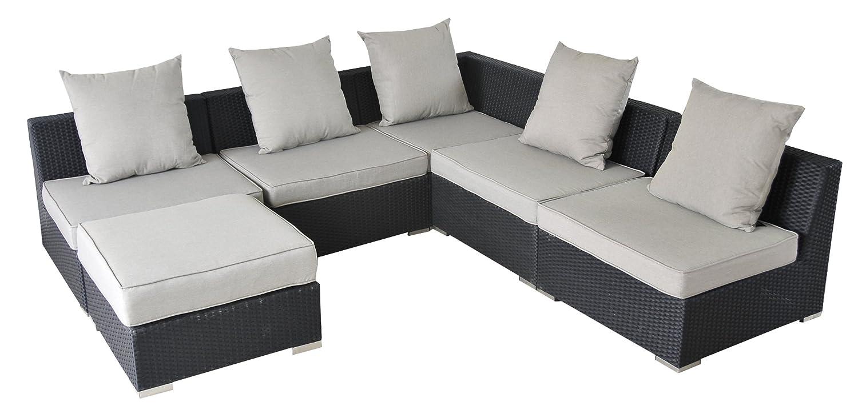 17tlg. Riesen Loungegruppe Nairobi Polyrattan schwarz KEIN BAUKASTEN! Alugestell! online kaufen