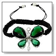 Butterfly Cut Emerald Diamond Accent Shamballa Style Bracelet