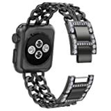 NO1seller Top Bands Compatible for Apple Watch 38mm 42mm, Bling Metal Cowboy Style Bracelet Strap Replacement Wristband for Apple Watch Series 4 40mm 44mm 3/2/1,Sport,Nike+,Edition (Color: Black, Tamaño: 42mm/44mm)