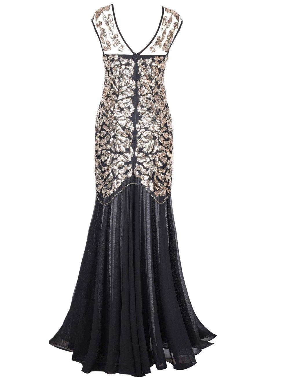 Kayamiya Women's 1920s Beaded Sequin Floral Maxi Long Gatsby Flapper Prom Dress 1
