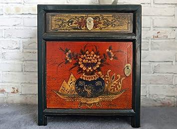 Opium Outlet chino caja armario estilo colonial pecho de cajones Mesita de noche Shabby Chic Vintage estilo Multicolor Motivos