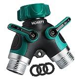 Homitt Hose Splitter,Hose Splitter 2 way with Comfortable Rubberized Grip,Easy to Open Valves Garden Hose Splitter for Easy Life (Color: Green)