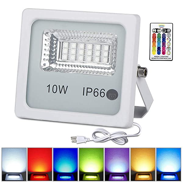 10 Pack 10W RGB LED Flood Lights with Remote Control, IP66 Waterproof Dimmable Color Changing Floodlight, 16 Colors 4 Modes Wall Washer Light, Indoor Outdoor Decorative Garden Landscape Lighting (Color: 10w Rgb Led Flood Light Outdoor, Tamaño: 10pcs 10W RGB)