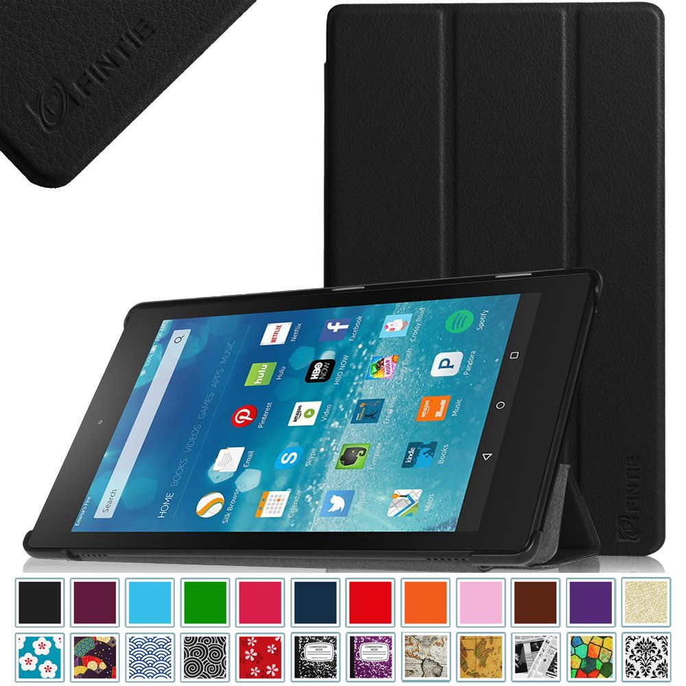 "Fintie Fire HD 8 2015 SmartShell Case - Ultra Slim Lightweight Standing Cover with Auto Wake / Sleep for Amazon Fire HD 8 Tablet (Fire 8"" HD Display 5th Generation - 2015 release), Black"