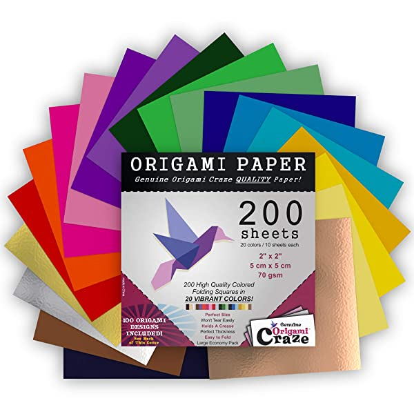Mini Origami Paper 200 Sheets, 2-inches Square, 20 Vivid Colors, Same Color on Both Sides, Premium Quality for Arts and Crafts, 100 Design E-Book Incl