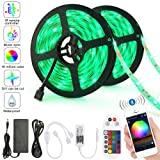 LED Strip Lights, Sumaote Color Changing Rope Lights 32.8ft 10m SMD 5050 RGB Light Strips Bluetooth with 24keys Remote Controller for Home, Bedroom, Party and Christmas Decoration (IP65 Waterproof) (Color: 10m Bluetooth mesh led strip kit (300 Led Ip65) - 24keys remote)