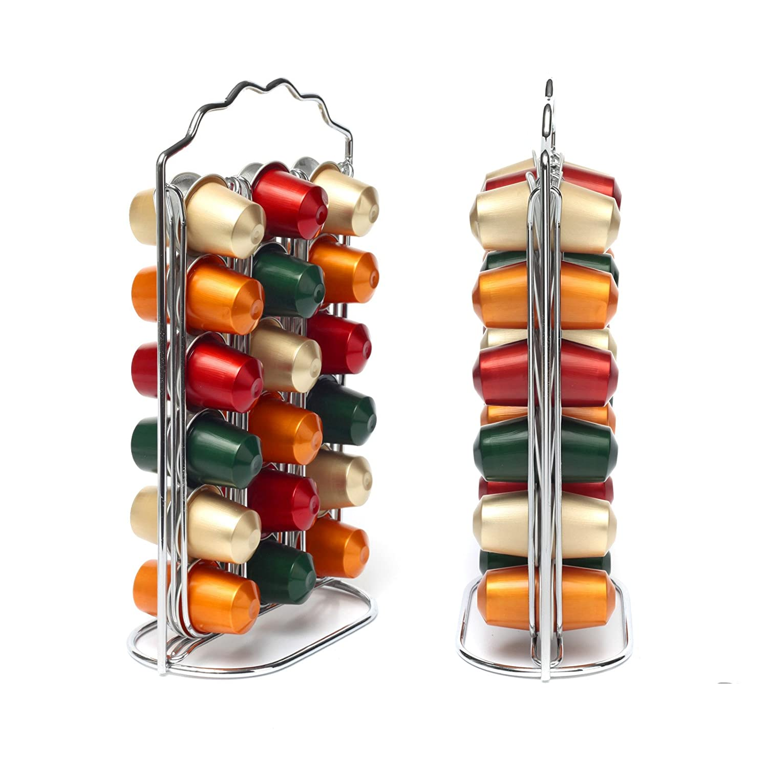 36 chrome coffee capsule pod holder tower stand rack for nespresso ebay. Black Bedroom Furniture Sets. Home Design Ideas