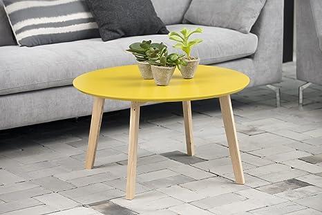 Couchtisch Hilz gelb Massivholz B80xT80xH45 by Scandy