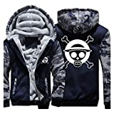 One Piece Anime Cosplay Costume Jolly Rogers Hoodie Sweatshirt Tops Coat Outwear Camouflage Thick Sweater (X-Large) (Color: Grey, Tamaño: X-Large)